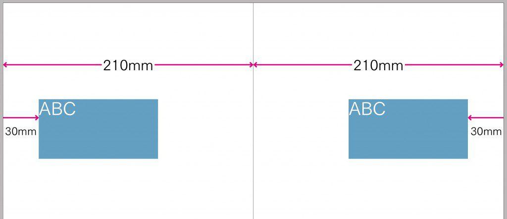 InDesign 見開きセンターで反転させたフレームの作成