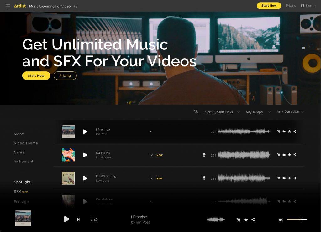 映像用楽曲ダウンロードサービスは「Artlist」一択か