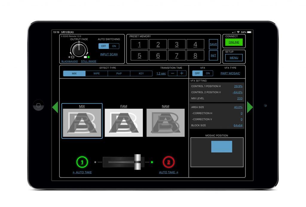 Roland V-02HD用リモートコントロールアプリ V-02HD Remote